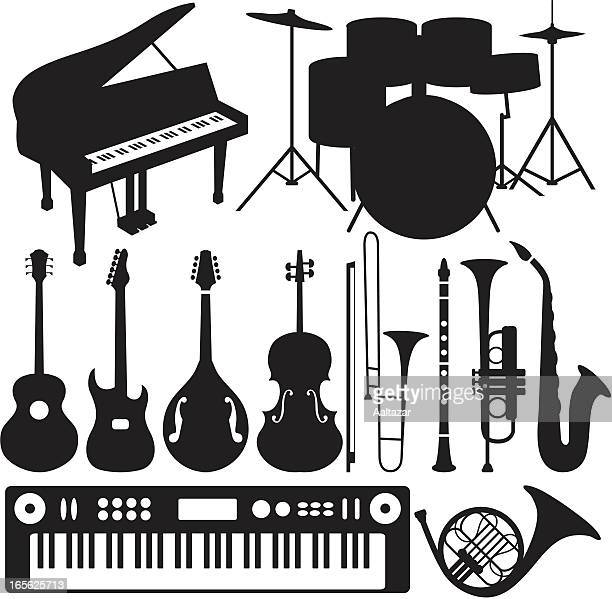 ilustraciones, imágenes clip art, dibujos animados e iconos de stock de negro siluetas de instrumentos musicales - bajo eléctrico