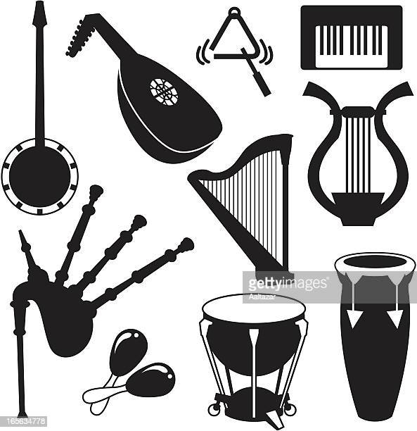 black silhouettes - musical instruments - percussion instrument stock illustrations