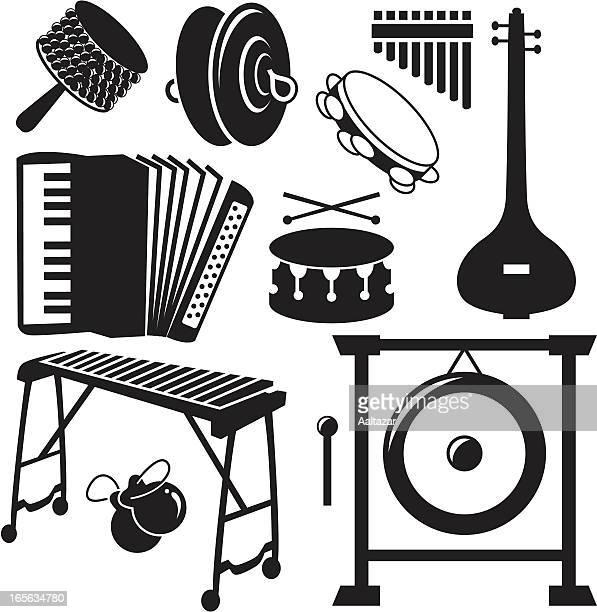 ilustrações de stock, clip art, desenhos animados e ícones de preto silhuetas de instrumentos musicais - pandeiro