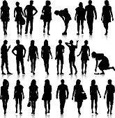 Black silhouettes of beautiful mans and womans