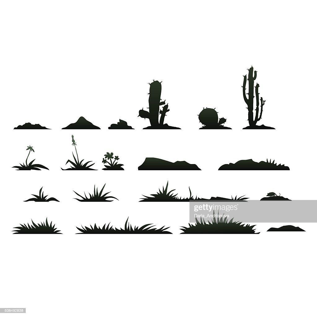 Black silhouettes of cactus on a white background