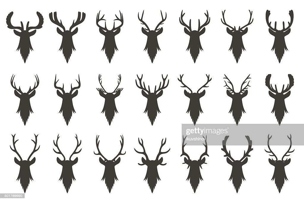 Black silhouettes of deer head with antlers