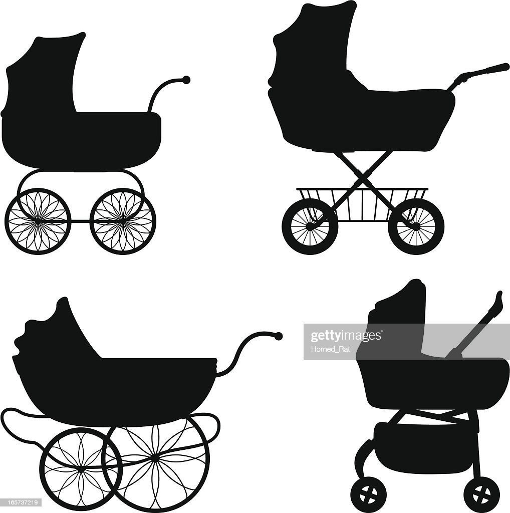 Black silhouettes of different prams