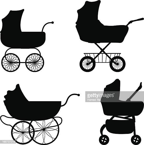 black silhouettes of different prams - baby carriage stock illustrations