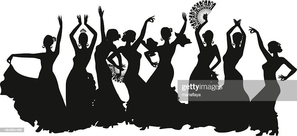 black silhouettes of female flamenco dancer