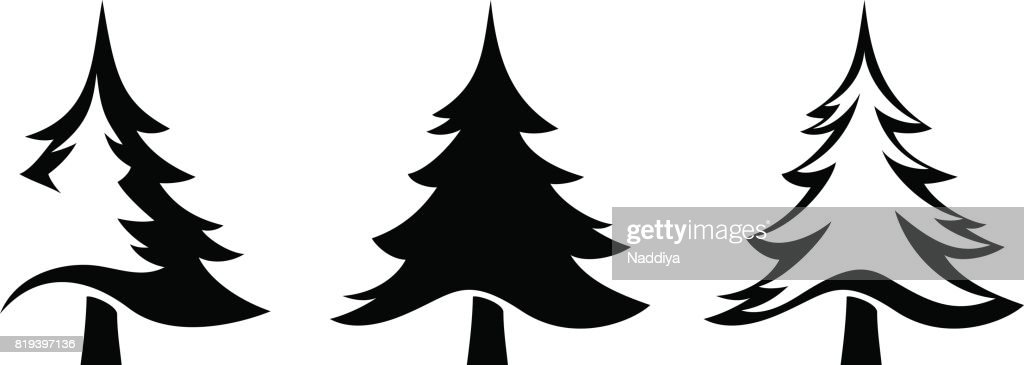 Black silhouettes of fir trees. Vector illustration.