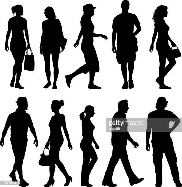 black silhouettes of men and women against white background - pedestrian stock illustrations, clip art, cartoons, & icons