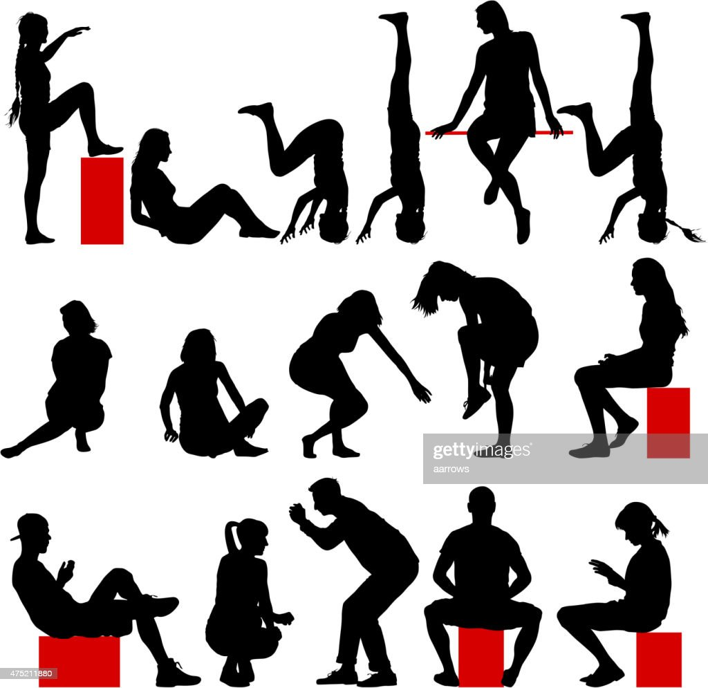 Black silhouettes of men and women in a pose sitting