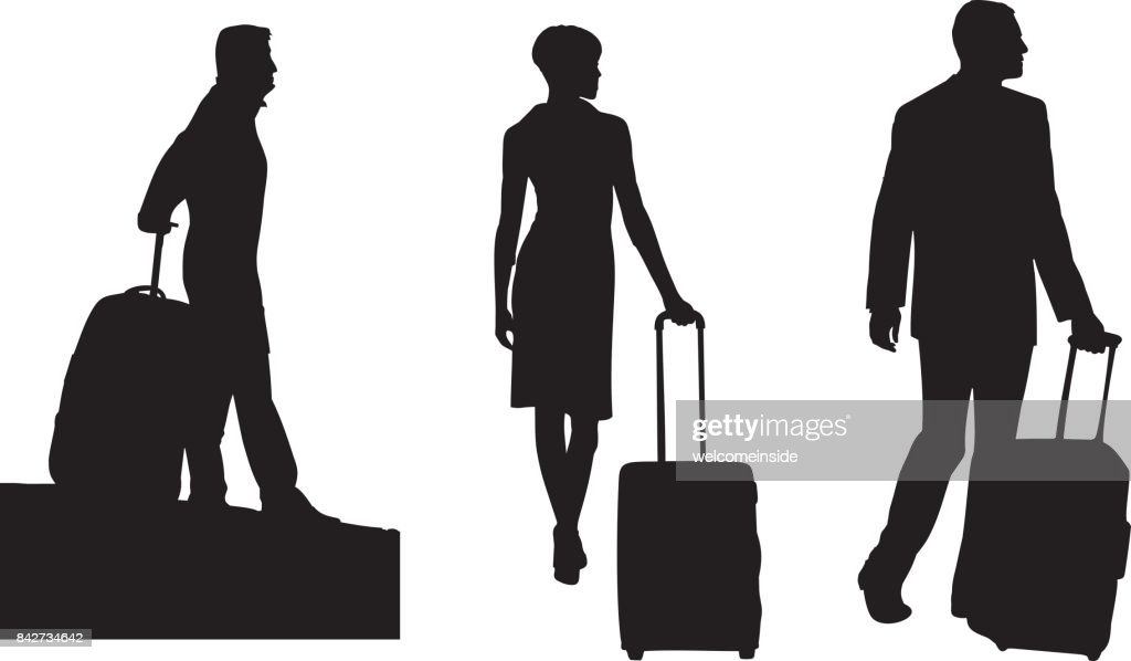 Black Silhouettes of people with luggage. Men with a suitcase. A woman with a suitcase.