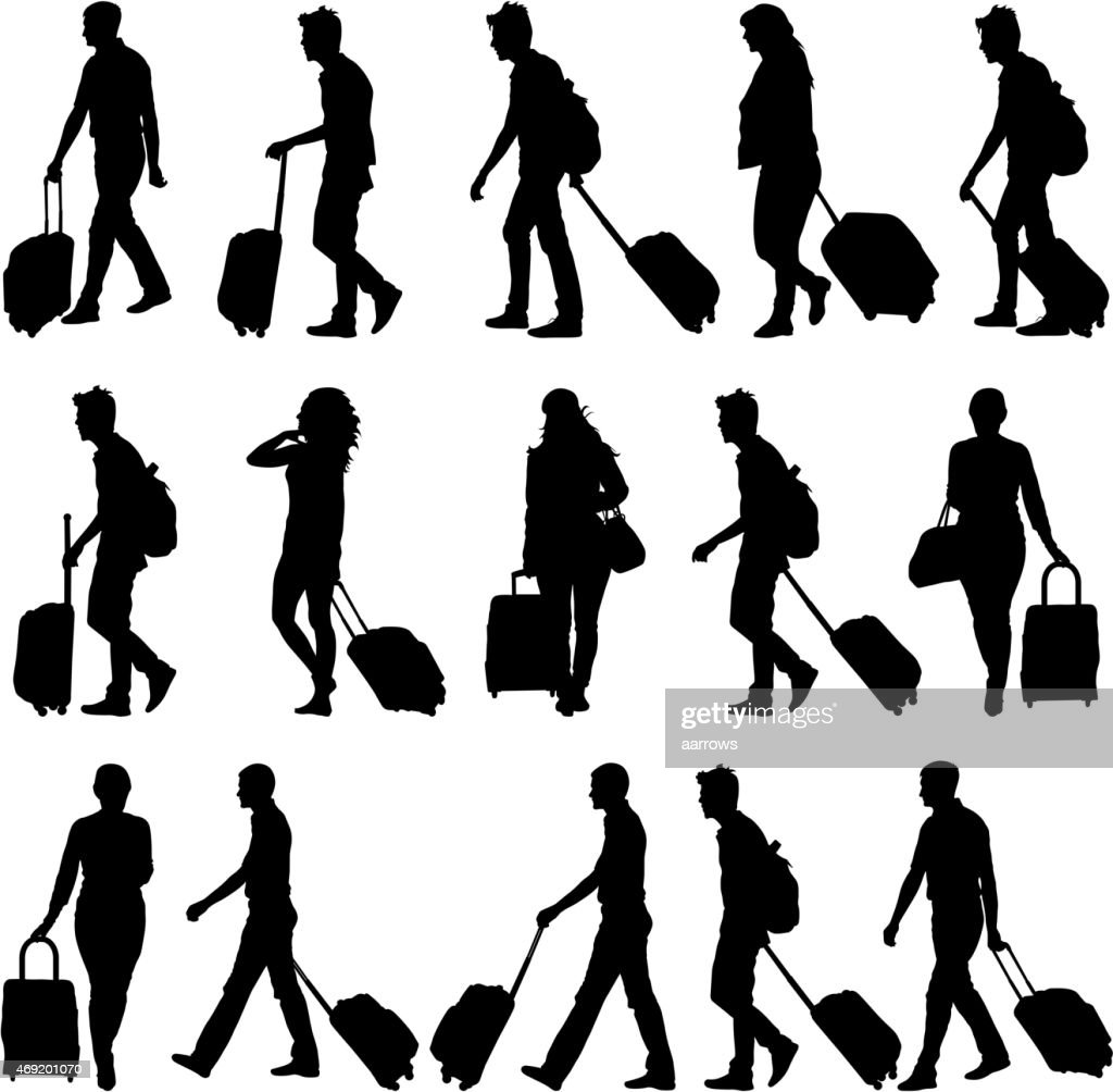 Black silhouettes travelers with suitcases