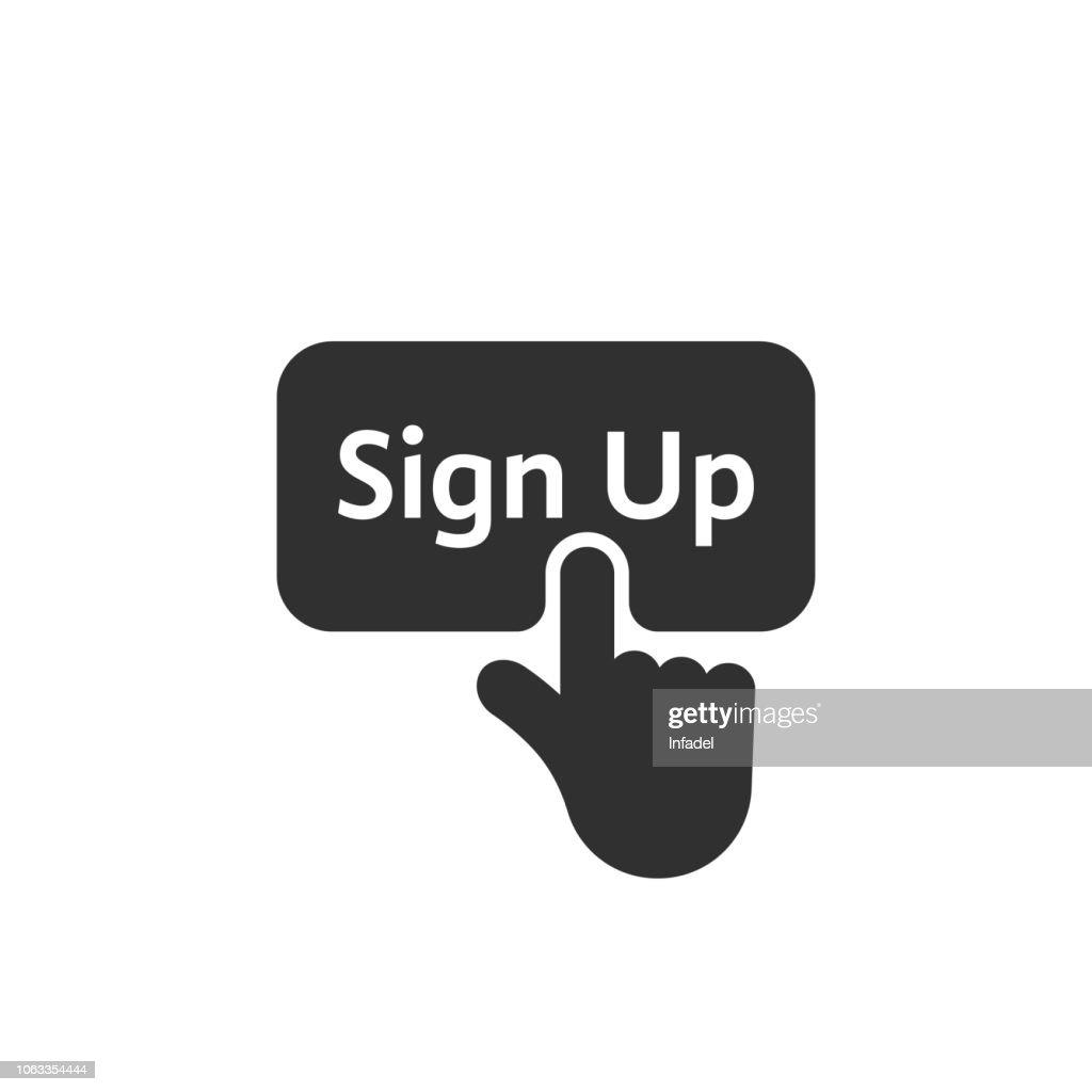 black simple finger presses on sign up button