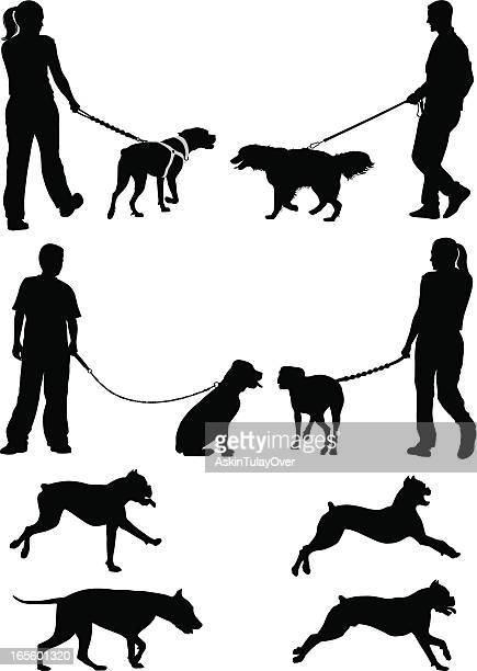 Black sketches of people walking dogs