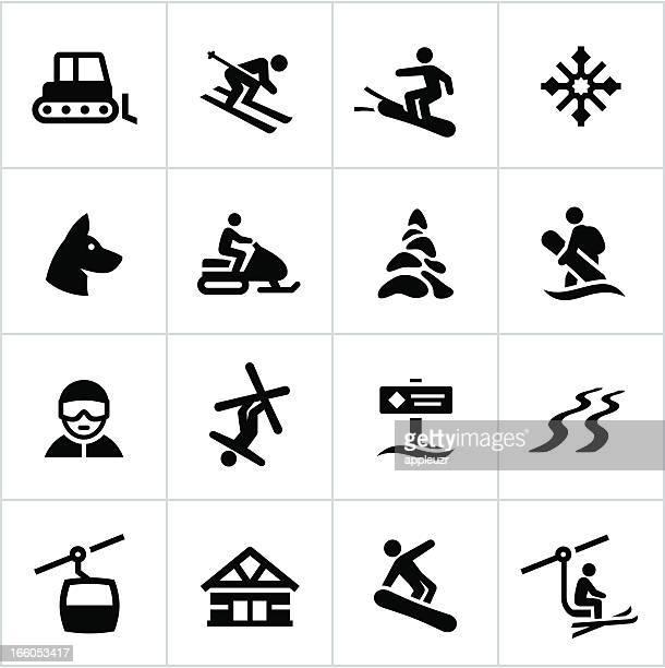 illustrations, cliparts, dessins animés et icônes de station de ski icônes noir - ski alpin