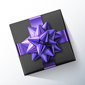 Black small square gift box with big glittering purple bow and ribbons isolated on white background. Top view. Vector realistic festive illustration. Decoration element for holiday design. Christmas, New Year, Birthday or any greeting cards.