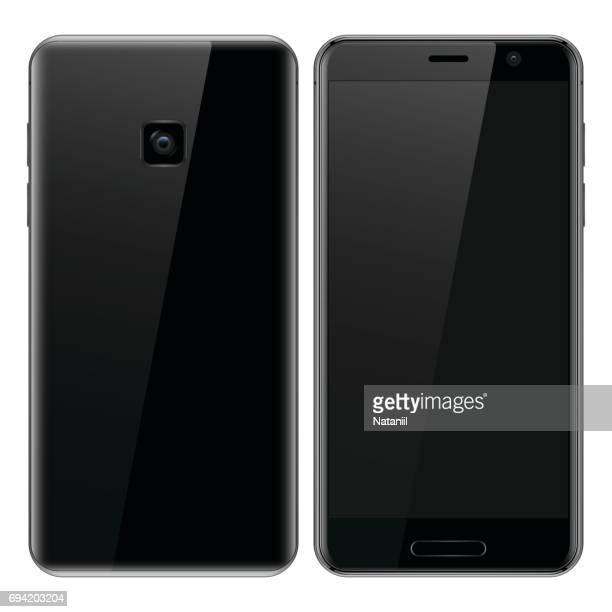 black smart phone with blank screen - blank screen stock illustrations, clip art, cartoons, & icons