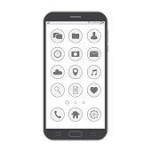 Black smartphone. Elegant thin line style design. Vector smartphone with UI icons.