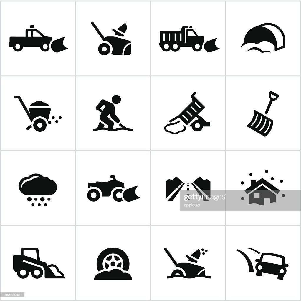 Black Snow Removal Icons : stock illustration