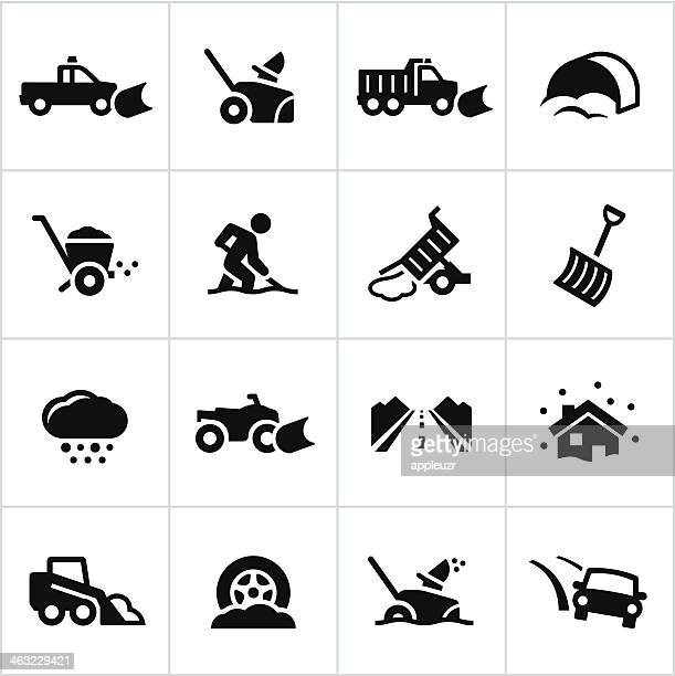 black snow removal icons - commercial land vehicle stock illustrations