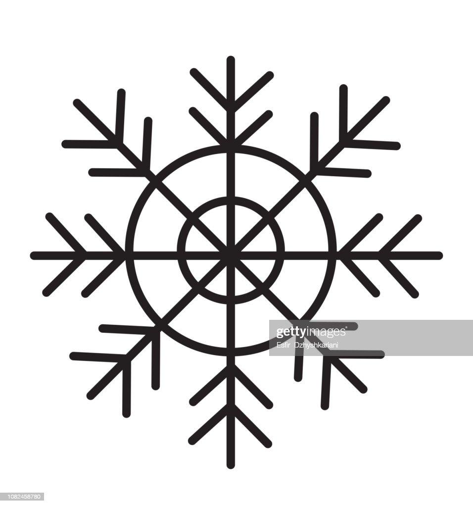 Black snowflake icon isolated on white background vector illustration