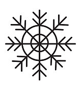 Black snowflake icon isolated on white background vector illustration