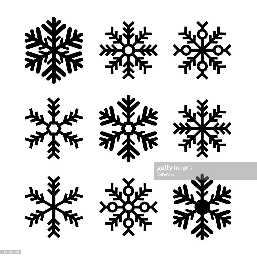 Black Snowflakes Set Isolated - Christmas, Winter, Cold