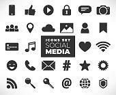 Black social media icons set