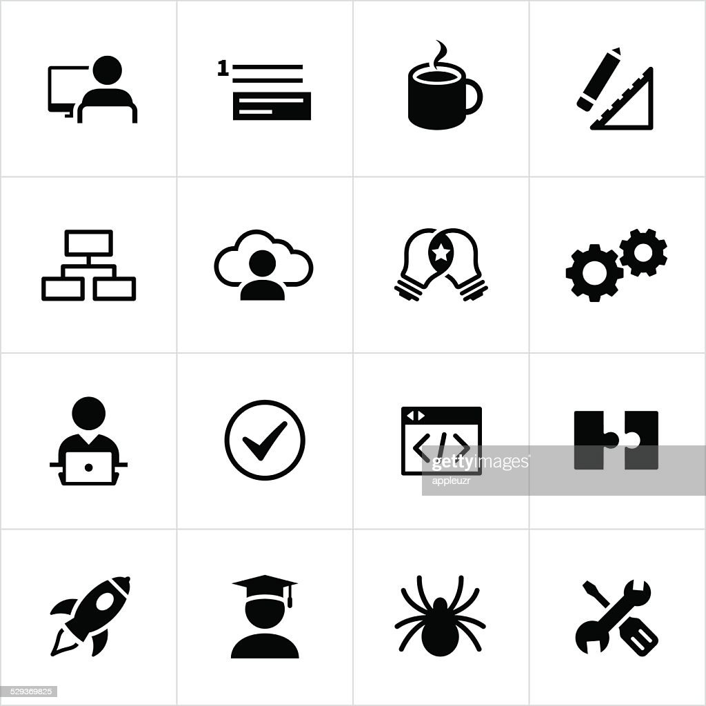 Black software development icons vector art getty images Vector image software