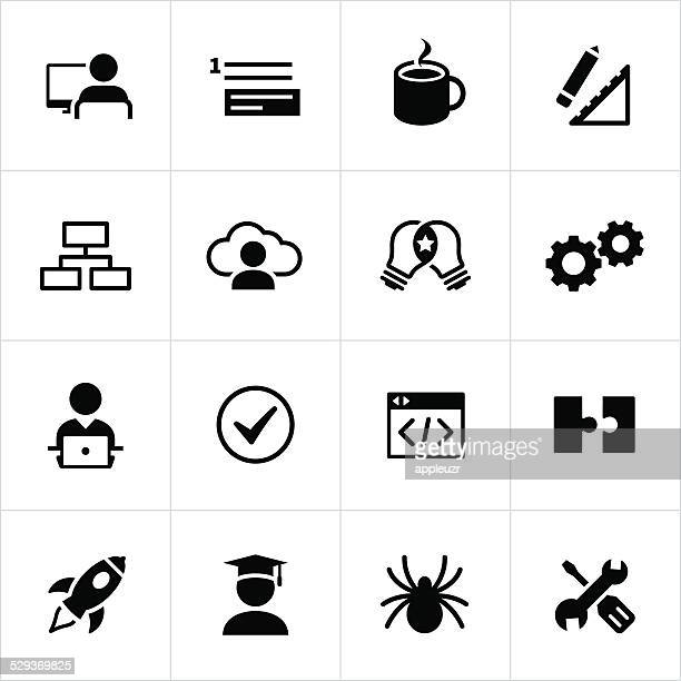 Black Software Development Icons