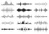 Black sound waves. Music audio frequency, voice line waveform, electronic radio signal, volume level symbol. Vector radio waves set