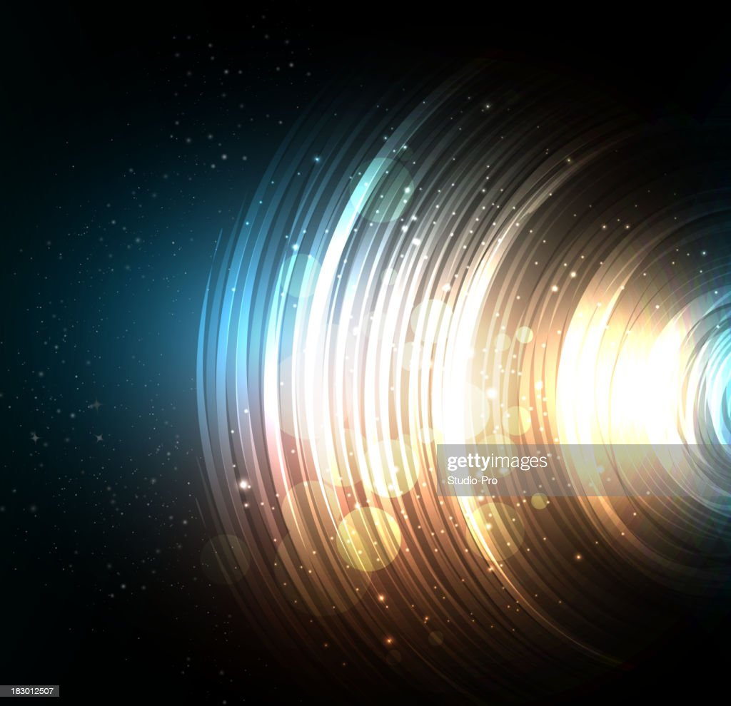 Black space-like abstract background with circles
