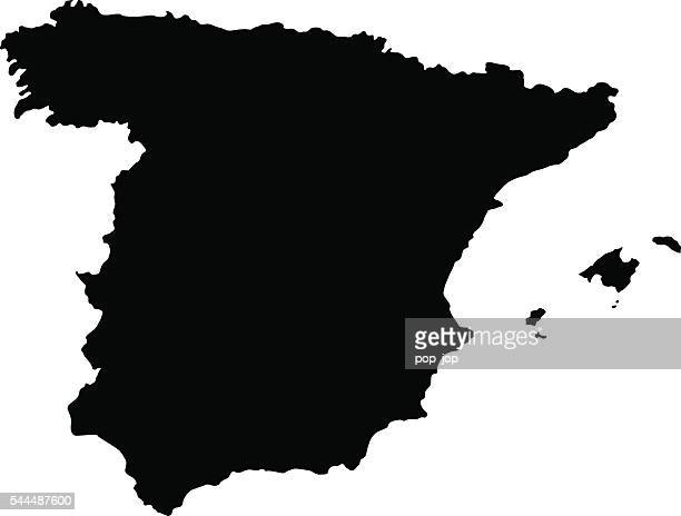 black spain map - oviedo stock illustrations, clip art, cartoons, & icons