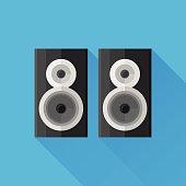 Black speakers flat icon