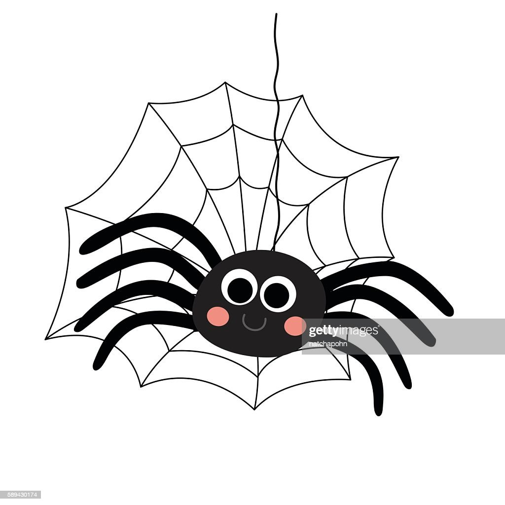 Black Spider animal cartoon character vector illustration.