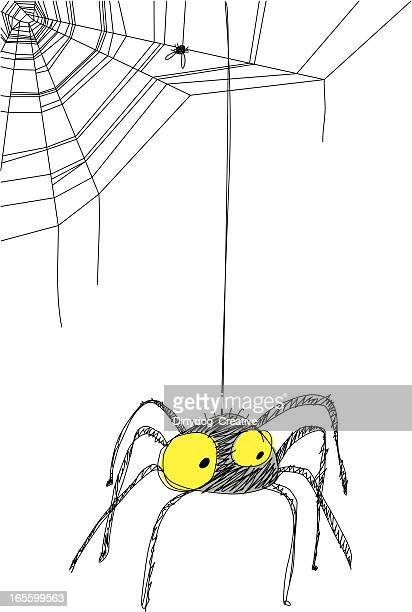 black spider hanging from web - spider stock illustrations