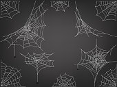 Black spiders and different web vector clipart