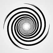black spiral swirl circle with brush vector illustration