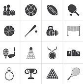 Black Sport equipment icons