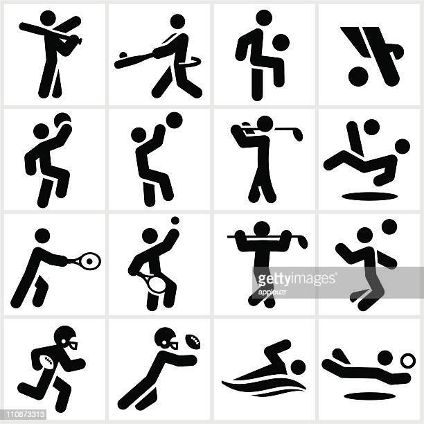 ilustraciones, imágenes clip art, dibujos animados e iconos de stock de reproductores de deportes iconos negro - jugadordebaloncesto
