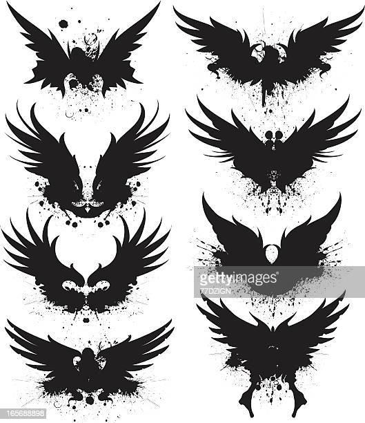 black spread wing silhouette splatter