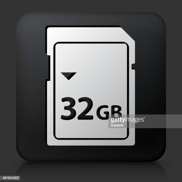 Black Square Button with 32GB SD Card