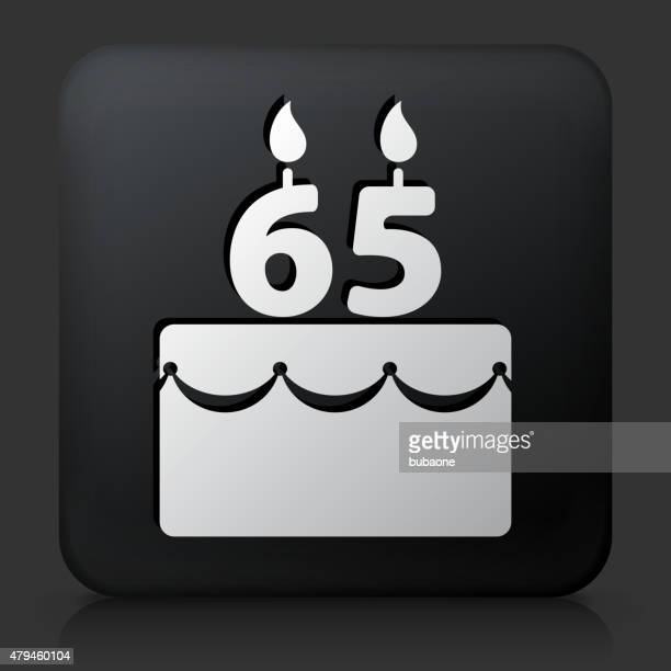 Black Square Button with 65 Years Birthday Cake