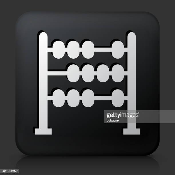 Black Square Button with Abacus Icon