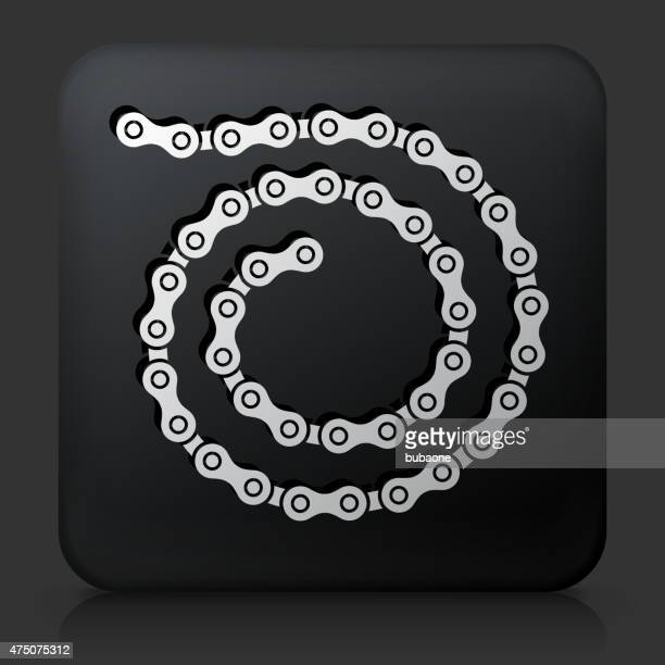 Black Square Button with Bike Chain Icon