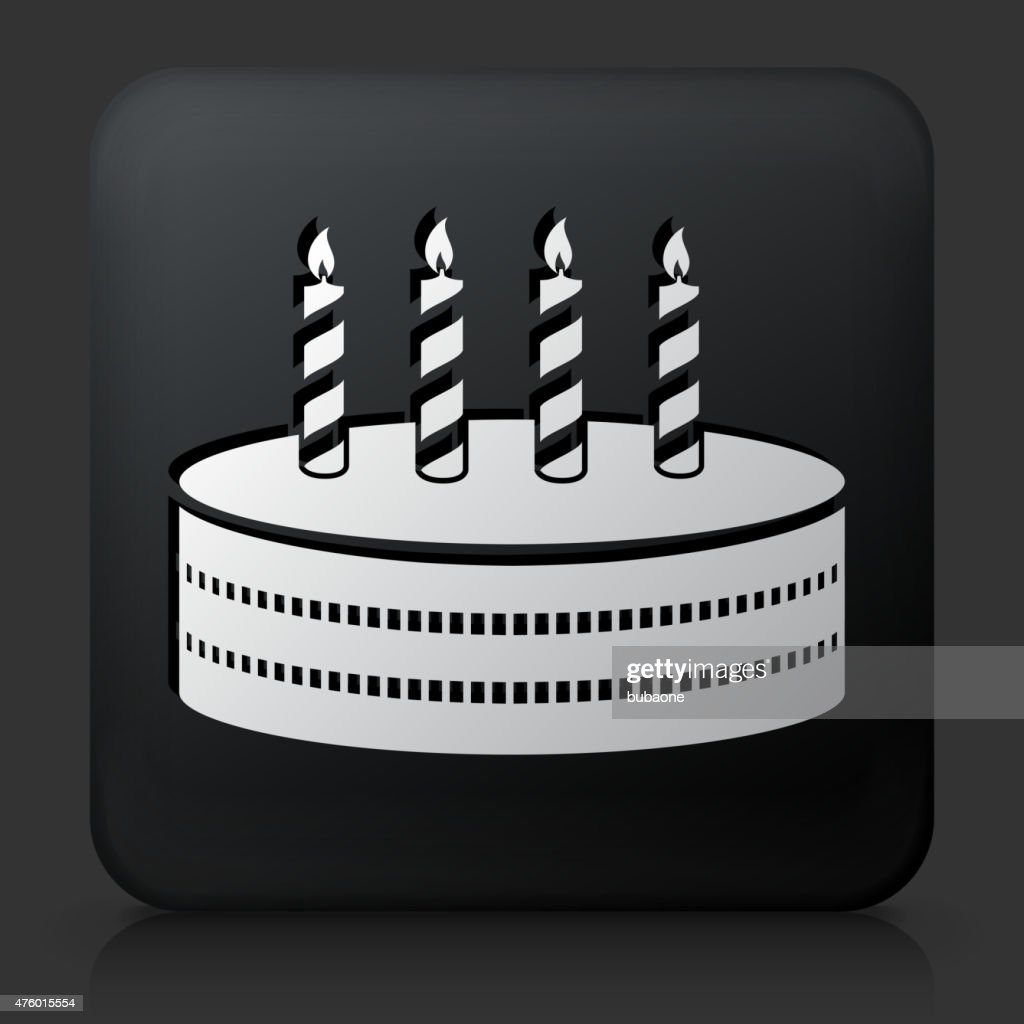 Black Square Button With Birthday Cake Icon Vector Art Getty Images