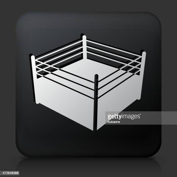 Black Square Button with Boxing Ring Icon