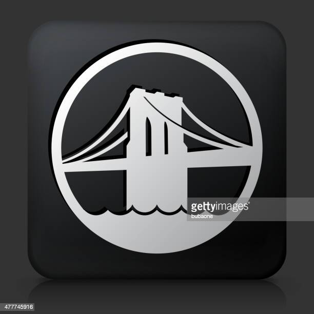black square button with brooklyn bridge - brooklyn bridge stock illustrations, clip art, cartoons, & icons