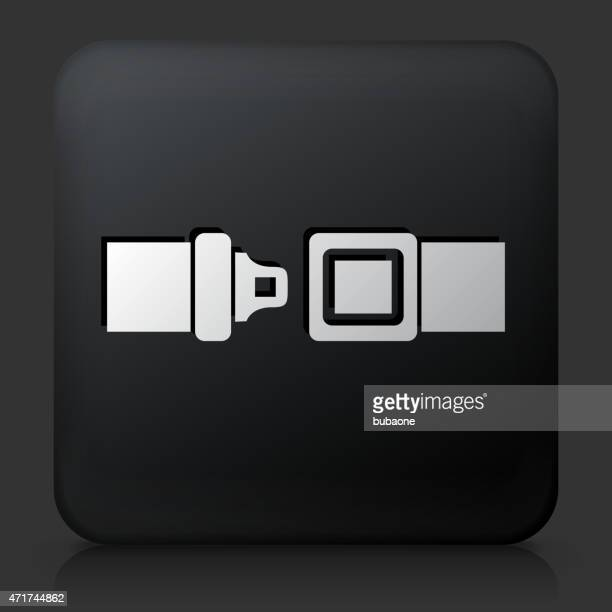 Black Square Button with Buckle Up Icon