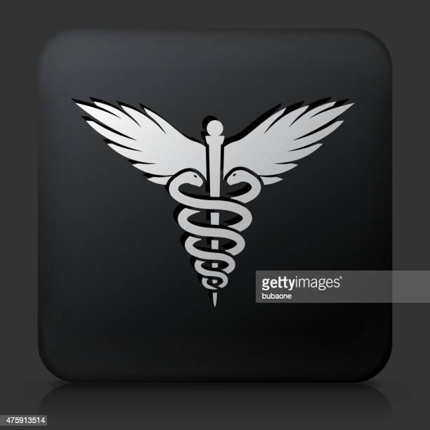 schwarze rechteckige schaltfläche mit symbol hermesstab - animal limb stock-grafiken, -clipart, -cartoons und -symbole