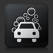 Black Square Button with Car Wash Icon