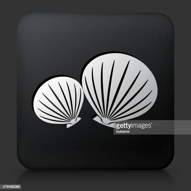 Black Square Button with Clams Icon